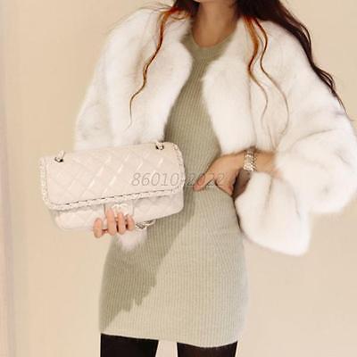 Women Luxury Faux Fur Shaggy Short Coat Jacket Overcoat Long Hair Outerwear M-XL