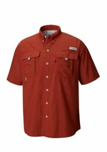 COLUMBIA-PFG-BAHAMA-II-MEN-039-S-SHORT-SLEEVE-FISHING-SHIRT-BUTTON-FRONT-RUSTY-RED