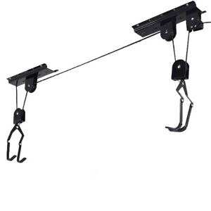 Bicycle-Lift-Bike-Ceiling-Mount-Pulley-Hoist-Rack-Garage-Storage-Hooks-Hanger