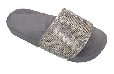 Girls Kid Metallic Sliders Size 8 9 10