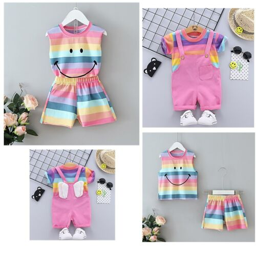 Summer Newborn Baby Girl Clothes Rainbow Outfits T-Shirt Tops Short Pants 2Pcs