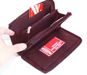 RFID-Blocking-Leather-Checkbook-Women-039-s-Clutch-Wallet-Secretary-Organizer