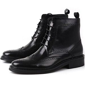7ee9ee5413f Details about MENS HANDMADE BLACK WINGTIP BROGUE ANKLE DRESS LEATHER BOOT  LACES UP SHOES