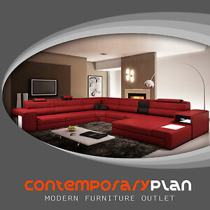 Details about Dark Red / Black Leather Polaris Sectional Sofa 5022 with  Lights and Ottoman