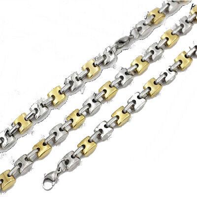 PARURE homme Collier bracelet grain de caf/é noir acier 9mm