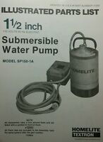 Homelite 1 1/2 In. Submersible Water Pump Parts Manual 8pg Sp150-1a & -1b 110v