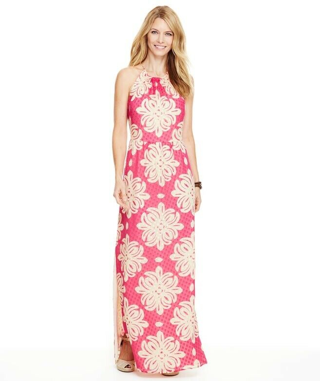 Vineyard Vines Medallion Silk Maxi Dress sz 0