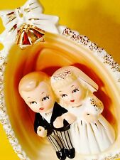 Bride & Groom Wedding Napco Figurine Vintage Planter Cake Topper Retro 1950s