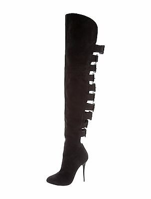 SPECTACULAR NWB $2K GIUSEPPE ZANOTTI SUEDE THIGH HIGH BOOTS WITH BACK BUCKLES