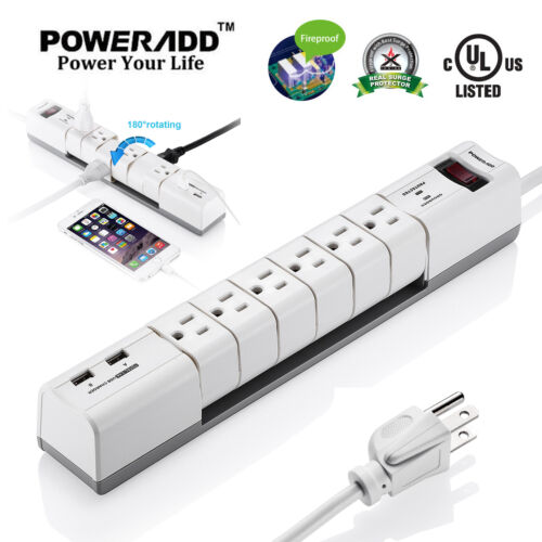 Poweradd 6 Outlet Rotatable Surge Protector Power Strip Socket Lightningproof