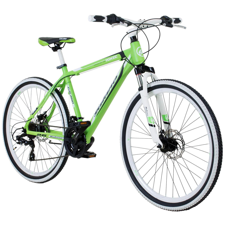 Mountain Bike 26 Inch Hardtail MTB Galano Toxic Youth Bicycle 21 Speed Green