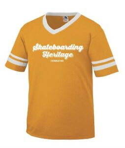 Skateboarding-Heritage-1970s-retro-team-T-shirt-gold-and-white