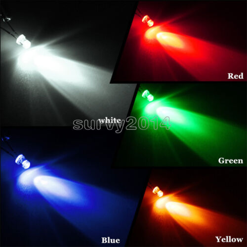 300pcs Mix 3mm Blue Red Yellow Green Round Light Emitting LED Diode Assorted Kit