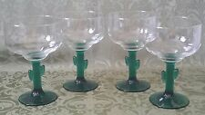 """Set of 4 Libbey Green Cactus Stem Margarita Cocktail Glasses 6 1/4"""" inch tall"""
