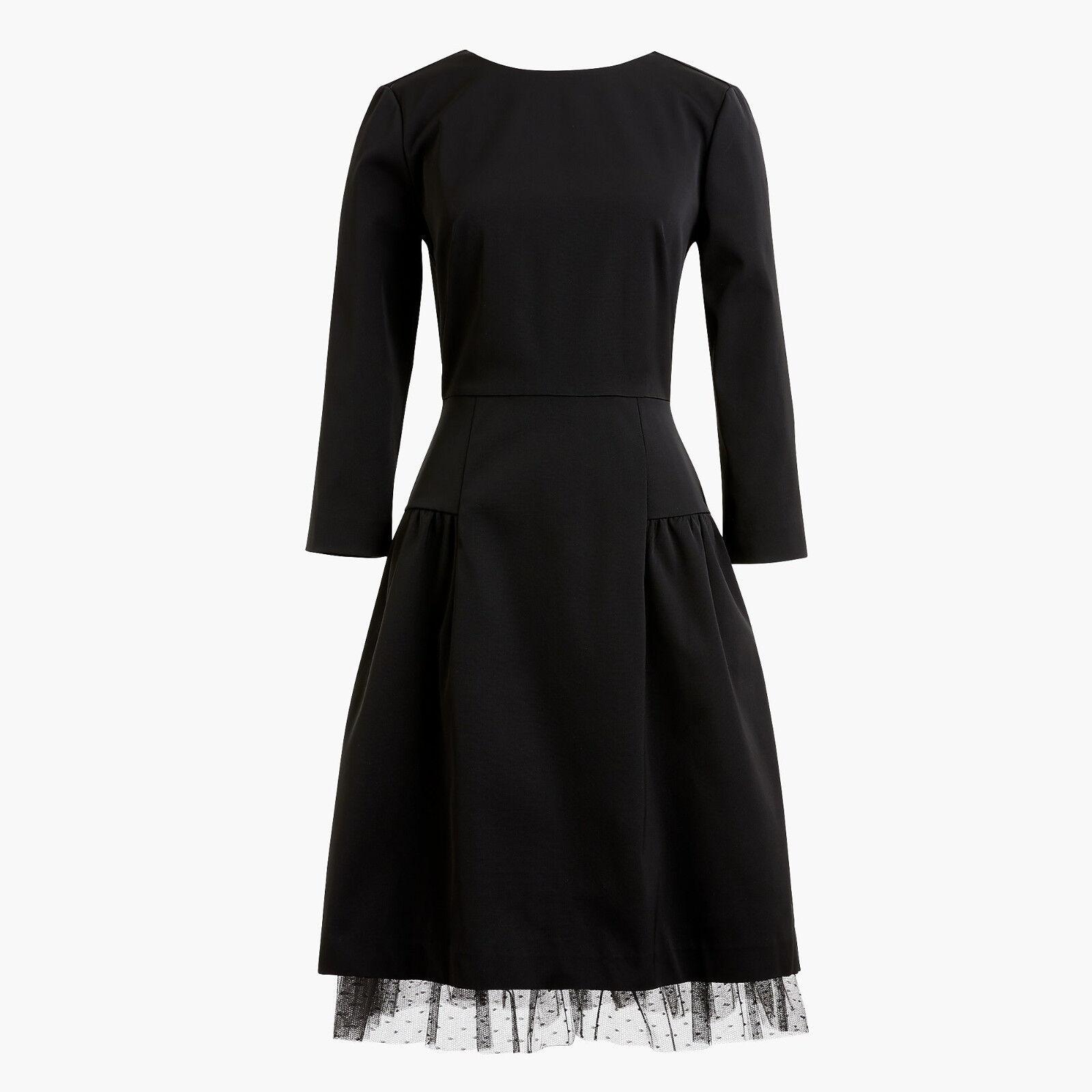 J.Crew Long Sleeve Sheath Dress With Tulle Hem schwarz Größe 0  H2851 - NWT