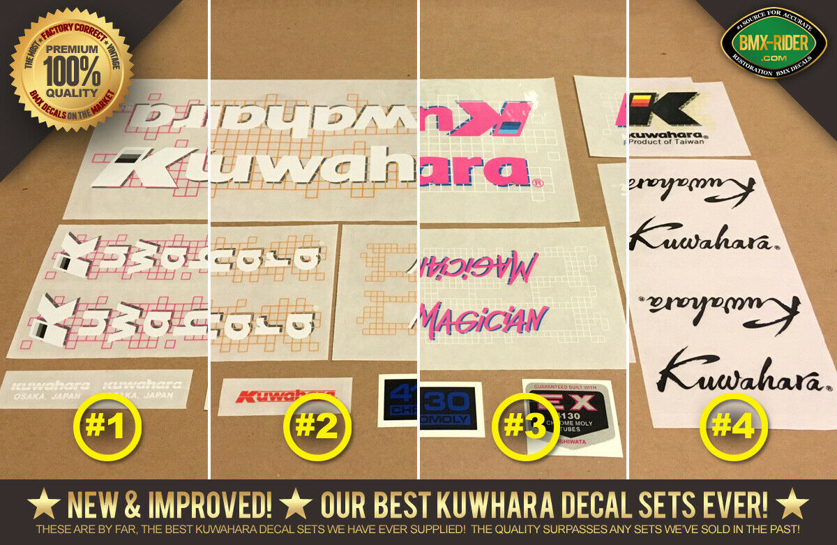 Kuwahara MAGICIAN PRO BMX Decal Set  1987  100% Factory Correct