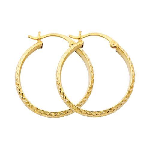 1 Inches Hoop Hinged 14K Solid Italian Yellow Gold Fancy Diamond Cut Earrings