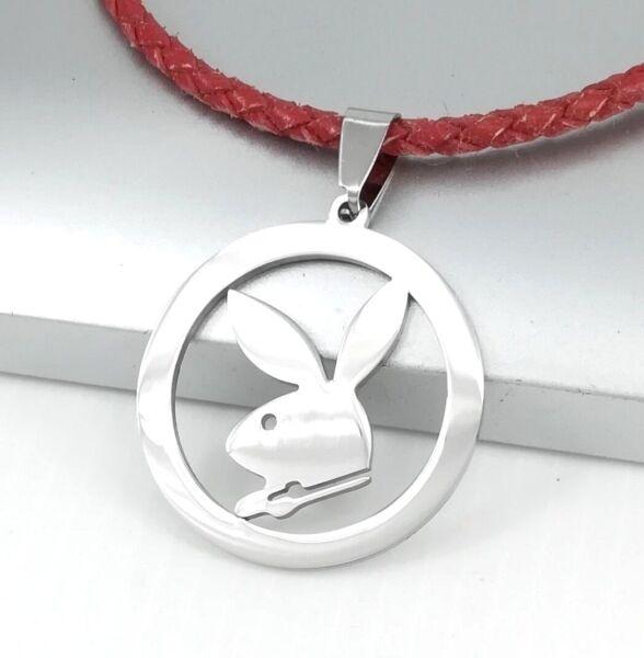 2019 Nuevo Estilo Playboy Bunny Conejo De Plata Colgante Collar De Cuero Rojo Trenzado Para Mujer Chicas-ver Limpieza De La Cavidad Bucal.