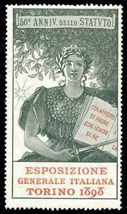 Italy Poster Stamp - 1898 General Exposition Torino (Turin) Type 2