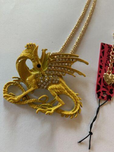 GOLD /& CLEAR Rhinestone Dinosaur Dragon Betsey Johnson Necklace-BJ59922