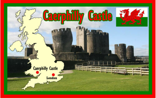 CAERPHILLY CASTLE WALES FLAGS MAPS SOUVENIR NOVELTY FRIDGE MAGNET  SIGHTS