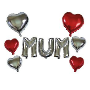 "Happy Birthday MUM Foil letters Balloons 16/"" large balloons Heart Balloons 18/"""