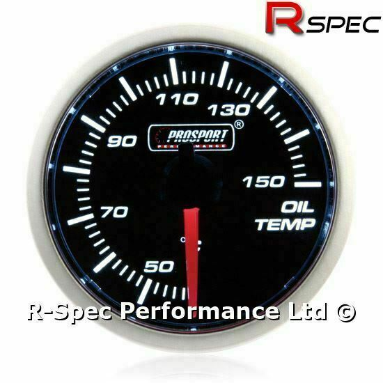 Prosport 52mm Smoked Super White Stepper Motor Oil Temp Temperature Gauge °C