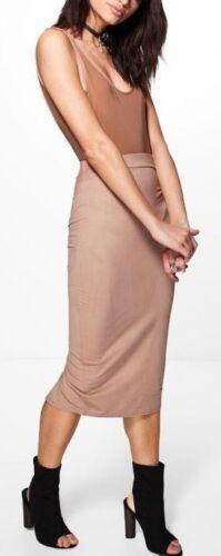 NEW LADIES WOMENS Tia  Suedette Midi Skirt