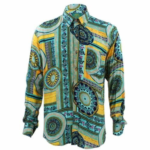 Mens Shirt Loud Originals TAILORED FIT Japanese Navy Retro Psychedelic Fancy
