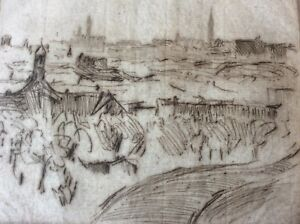 HERMANN-STRUCK-1876-1944-Original-Etching-Landscape-New-York-Signed