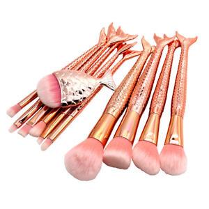 11pcs Mermaid Makeup Brushes Set Face Powder Blush Eyeshadow Cosmetic Brush Kit