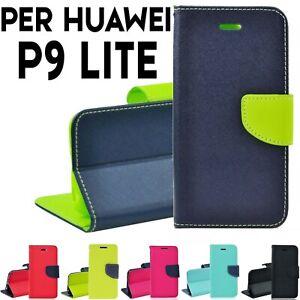 Custodia per Huawei P9 Lite Libro Portafoglio chiusura magnetica ...