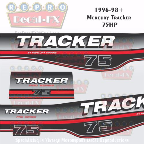 1996-98 Tracker By Mercury 75 HP Decals Outboard Reproduction 2 Pc Marine Vinyl