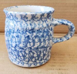 Details About Henn Pottery Blue Spongeware Mug H48