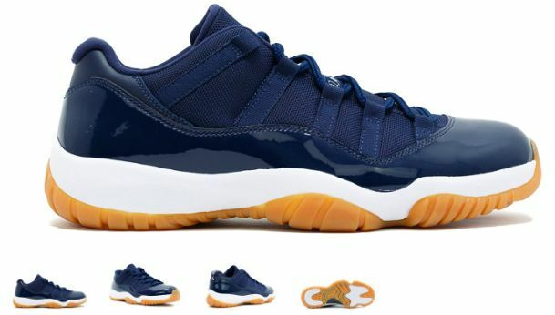 Air Jordan XI Retro 11 Low OG Midnight Navy bluee Gum Brown 528895-405