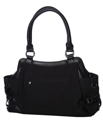 Lost Queen Kitty Cat Punk Pentagram Moon Gothic Handbag Purse BG7245//BLK