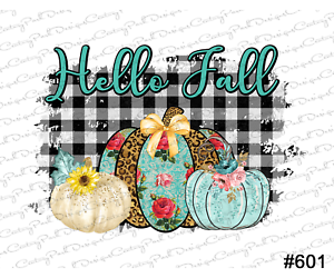Sublimation Transfer// Design 601 Hello Fall pumpkin plaid