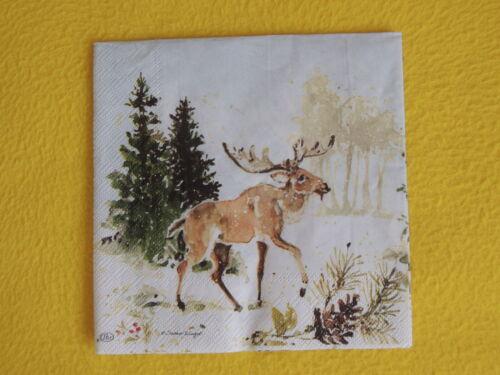 5 Servietten Tiere Winter Hirsche Elche Wald Serviettentechnik Motivservietten