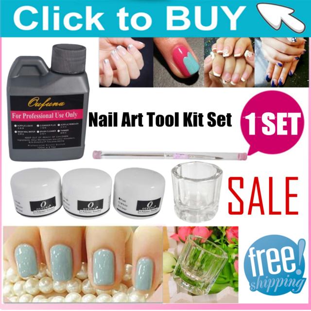 BEST Portable Nail Art Tool Kit Set Crystal Powder Acrylic Liquid Dappen Dish Ik