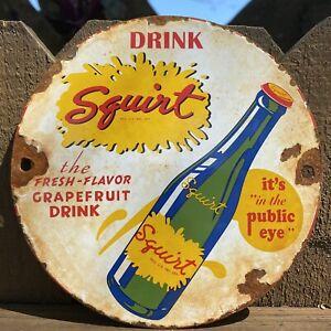 VINTAGE SQUIRT SODA PORCELAIN METAL SIGN GAS STATION POP DRINK BEVERAGE OIL LUBE