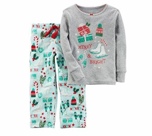 12 Months 《NEW》Carter/'s Girls/' 2-Piece Christmas Iceskates Fleece Pajamas