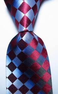 New-Classic-Checks-Red-Black-Gray-JACQUARD-WOVEN-100-Silk-Men-039-s-Tie-Necktie