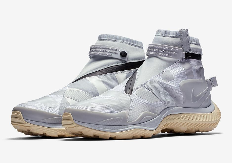 New Men's Nike NSW Gaiter Boot White Pure Platinum Black Size 8.5 AA0530 100