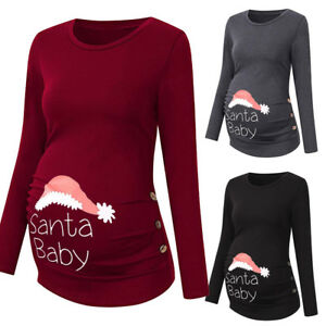 UK-Womens-Xmas-Side-Ruched-Long-Sleeve-Maternity-Top-Pregnancy-Blouse-Clothes-KR
