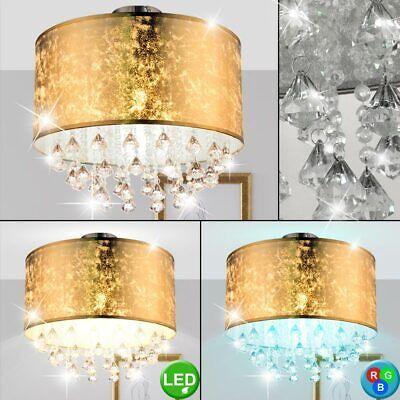 LED Pendel Hänge Lampe dimmbar Kristalle klar RGB Fernbedienung Textil silber