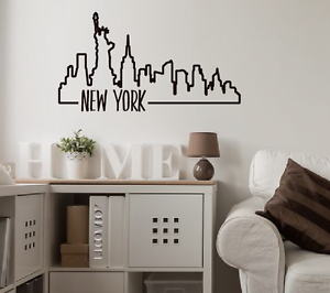 New York Skyline City Wall Decal Vinyl Art graphic Room Office graffiti outline
