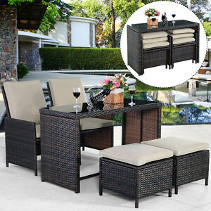 Image Is Loading 5pc Rattan Patio Set Outdoor Furniture Garden Table