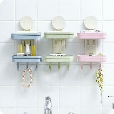 Drain Soap Dishes Holder Double Layer Storage Rack Container Box Bathroom G
