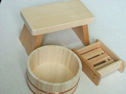 Japanese Oke wood Bath yuoke Chair  Soup box 3pic SET Onsen Tools from JAPAN  online sales