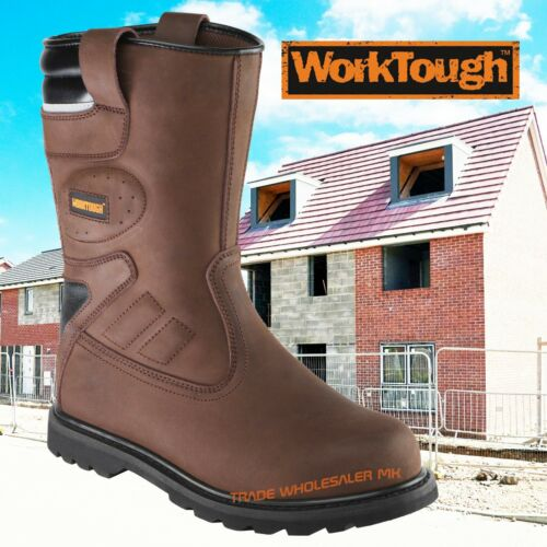 Worktough  Rigger Safety Boots Steel Toe Cap Work Boots Midsole Premium Leather